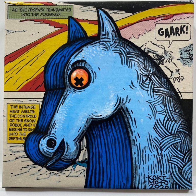 Self Wars: Episode I – The Phantom Salary II, 2020, Comics page and acrylic on canvas, 20 x 20 cm, framed