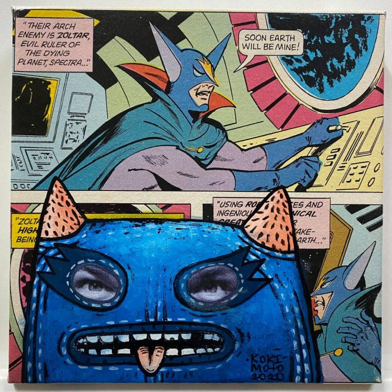 Self Wars: Episode V – The Empire Takes Blow I, 2020, Comics page and acrylic on canvas, 20 x 20 cm, framed