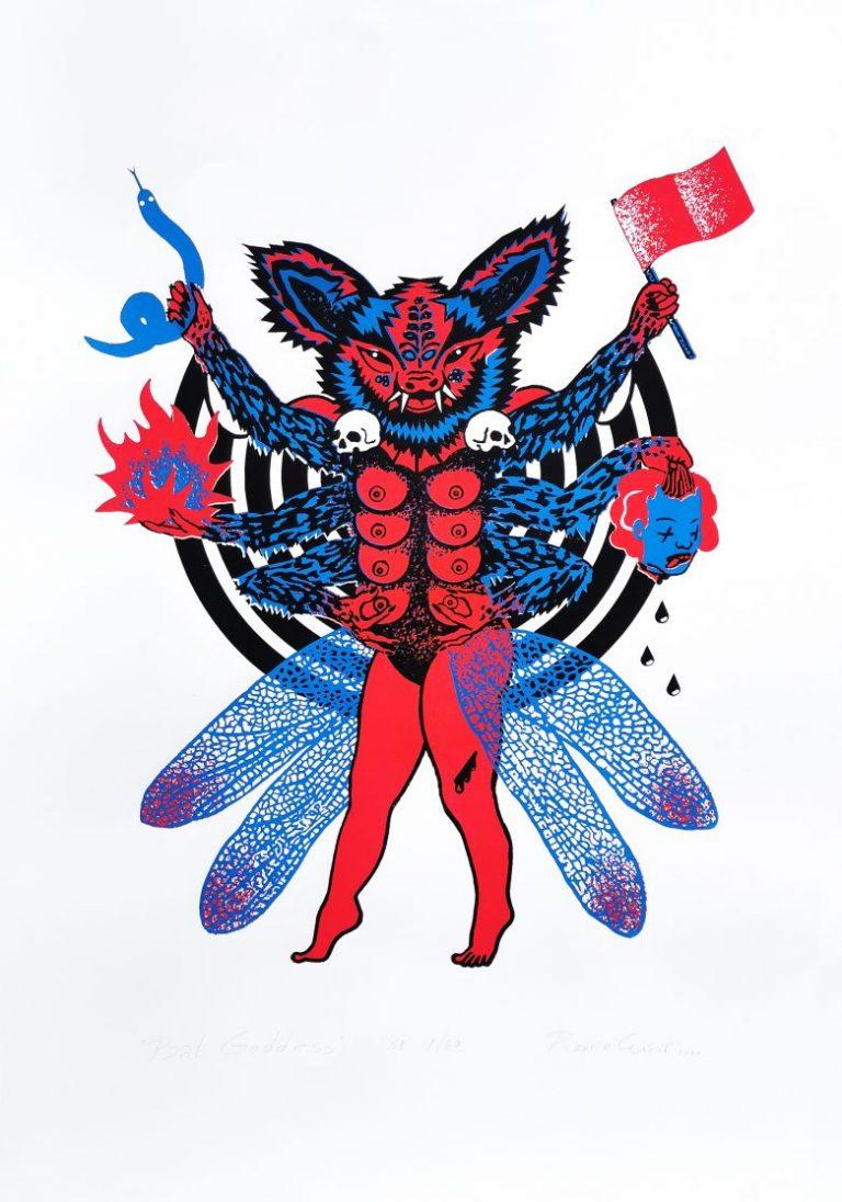 Bat Goddess, 2021, ръчно отпечатана сериграфия, 3 сито шаблона, лимитирана серия от 30, 100 х 70 см.