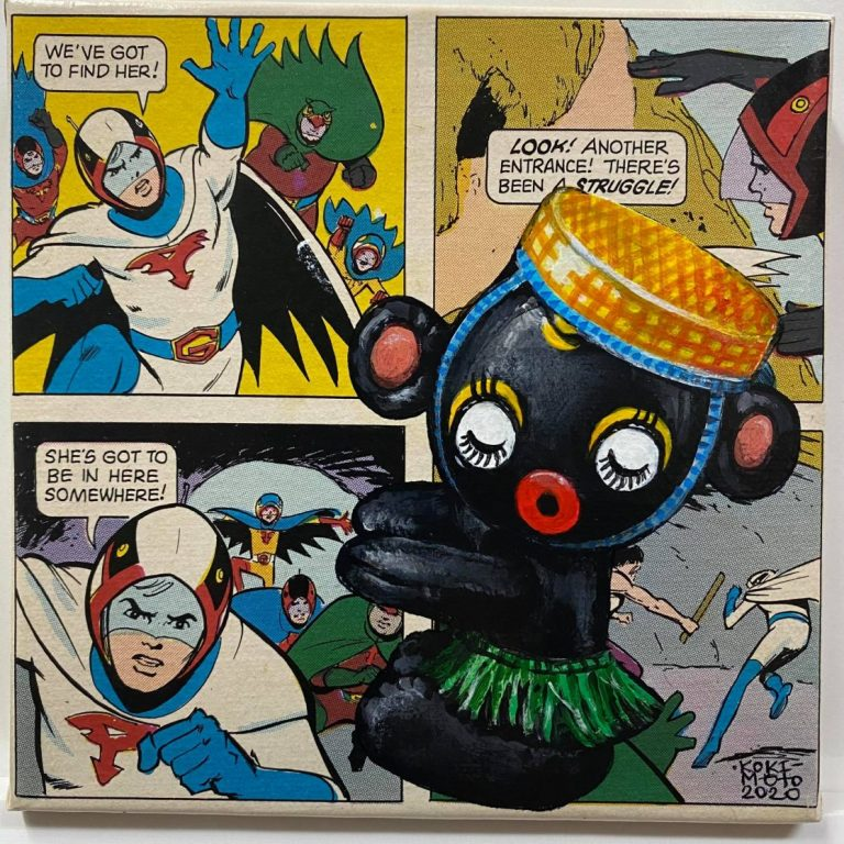 Self Wars: Episode VI – Return of the Inflatables I, 2020, Comics page and acrylic on canvas, 20 x 20 cm, framed