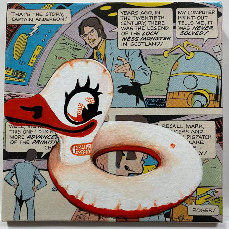 Self Wars: Episode VI – Return of the Inflatables II, 2020, Comics page and acrylic on canvas, 20 x 20 cm, framed