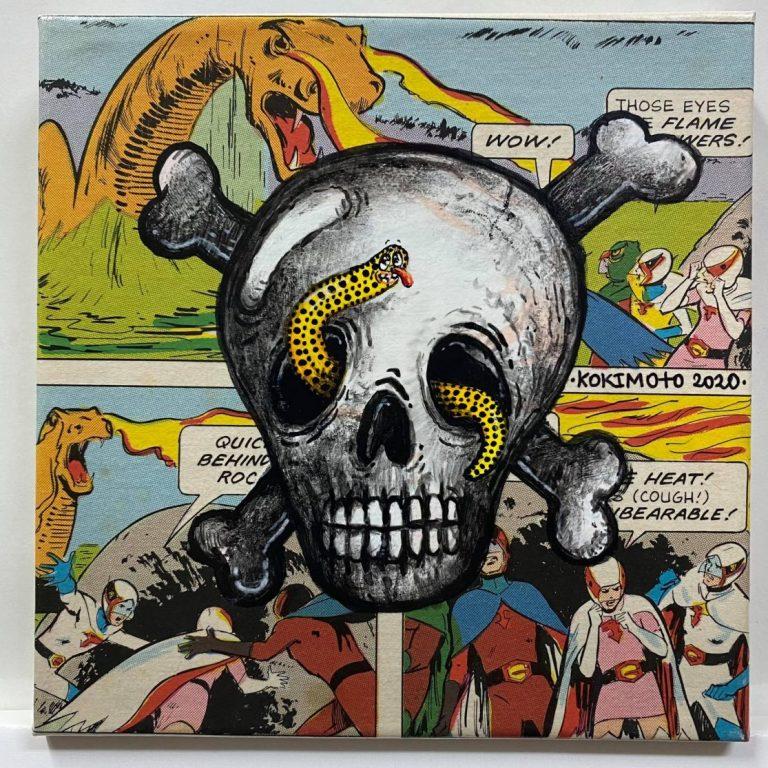 Self Wars: Episode II – Attack of the Bones I, 2020, Комикс и акрил върху платно, 20 x 20 см, рамкирана