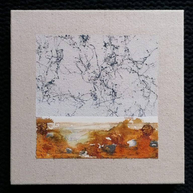 Детайл, 2020, латекс, лепило, спрей, вар, пигмент и естествена оксидация върху платно, 20 x 20 см.