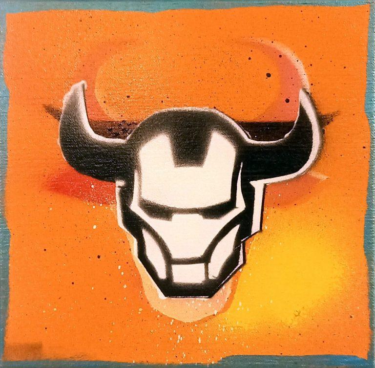 Бикове и крави 2, 2020, акрил, шаблони и спрей върху платно, 20 x 20 см.