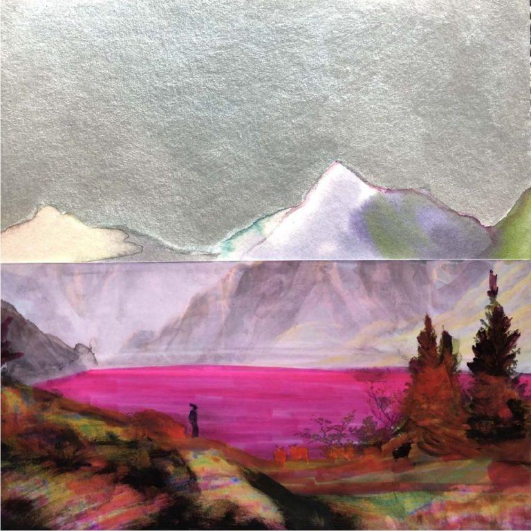 По следите на К.Д.Фридрих, 2020, смесена техника – колаж, акварел и акрил в/у фото хартия, 20 x 20 см, без рамка