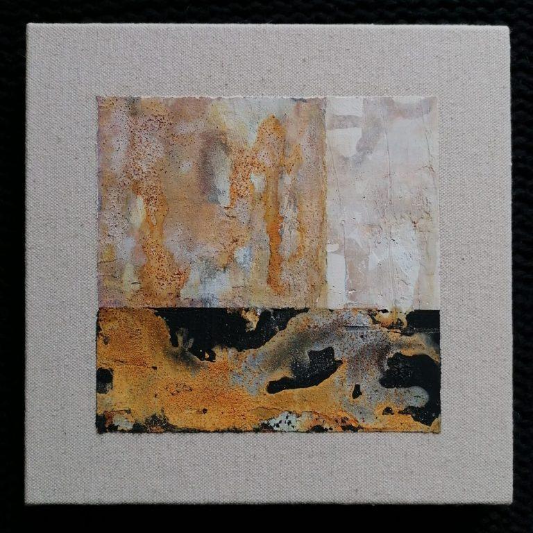Детайл, 2020, вар, пигмент, акрилна паста, естествена оксидация върху платно, 20 x 20 см.