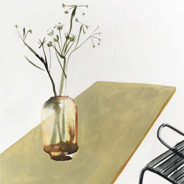 Breakfast at Hlebar, 2020, Watercolour on paper, 20 x 20 cm, not framed