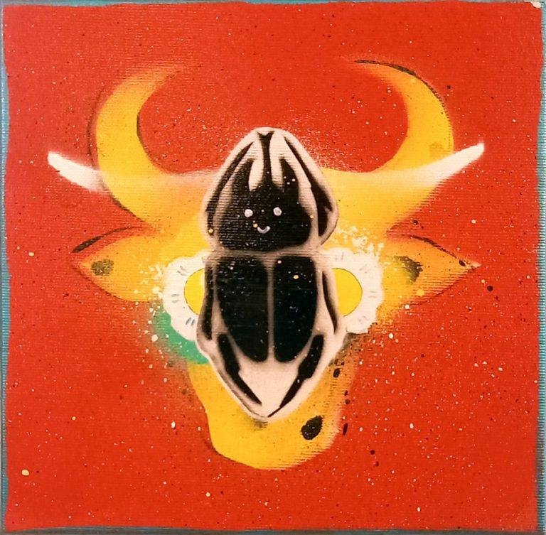 Бикове и крави 4, 2020, акрил, шаблони и спрей върху платно, 20 x 20 см.