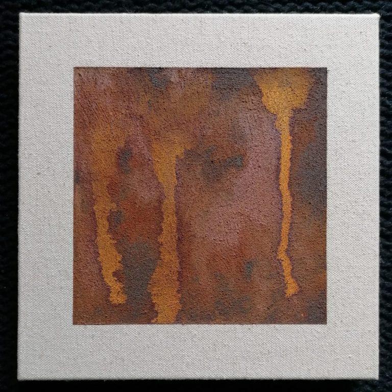 Детайл, 2020, естествена оксидация върху платно, 20 x 20 см.