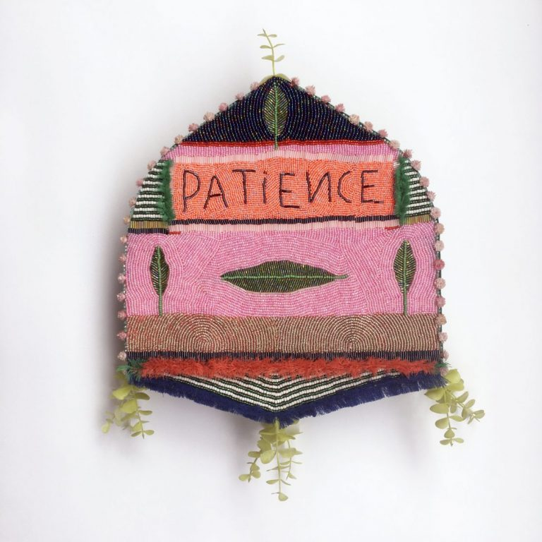 Synthetic Flower of Patience, 2020 Embroidery – glass and plastic elements, fabric, cardboard, 42 х 35 x 8 сm.