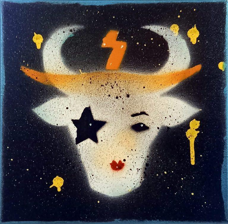 Бикове и крави 5, 2020, акрил, шаблони и спрей върху платно, 20 x 20 см.