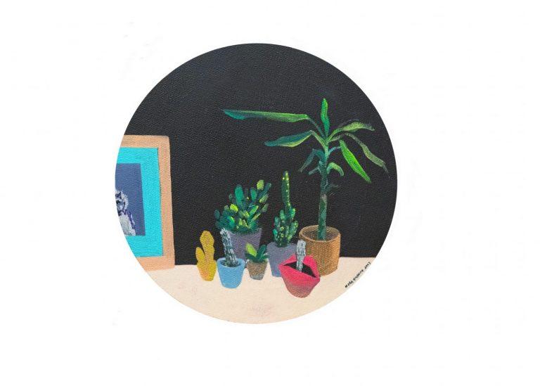 Натюрморт с кактуси, 2019, акрил върху платно, 20.5 х 20.5 см.