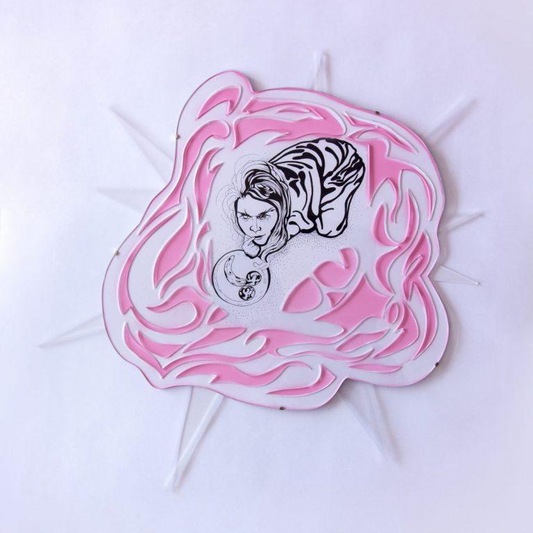 Храна за облаци II, 2020, Мастило и акрилен спрей върху хартия и лазерно изрязано акрилно стъкло, 56 х 58 см.