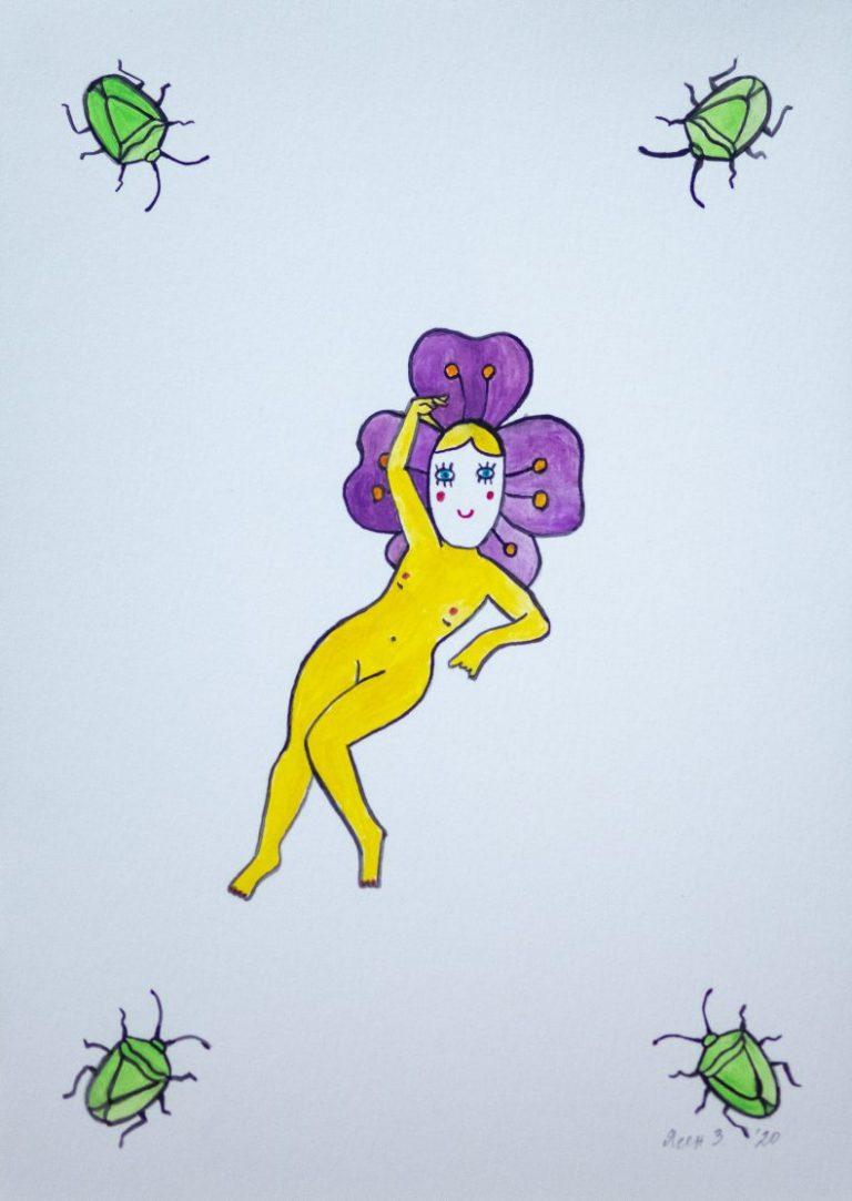 """Виолетова Венера"", 2020, акварел, 29×21 см"