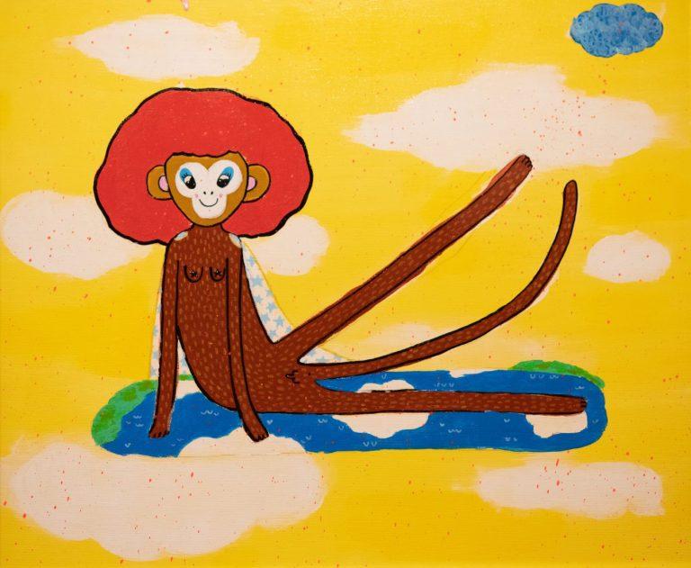 """""""Майката на маймуните"""", 2020, акрил върху канаваца, 45×54 см"""