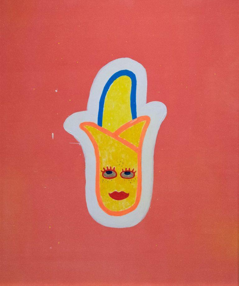 """""""Цар Банан"""", 2019-2020, акрил и шлагметал въху платно, 54×45 см"""