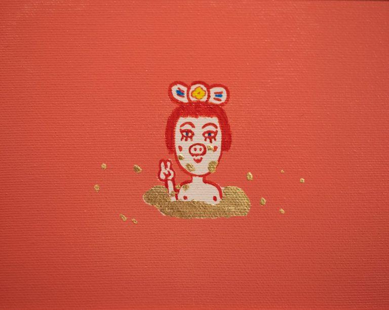 """""""Света Неделя"""", 2020, акрил и шлакметал върху плаатно, 14×17.5 см"""