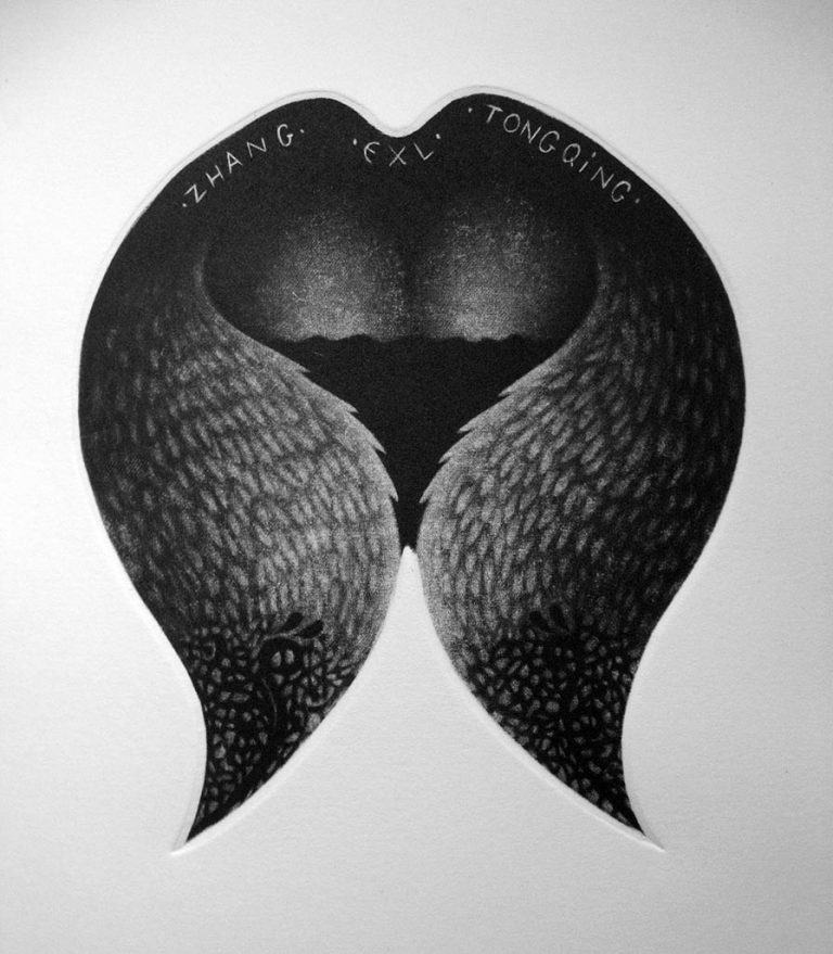 """Ex libris """"Leda and Swan"""" – mezzotint, 20×20"""