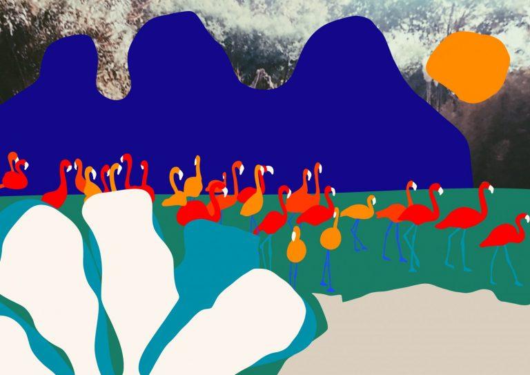 Flamingos, 2020, дигитален принт върху Hahnemuhle German Etching 310 gsm. хартия, 30 x 40 см.