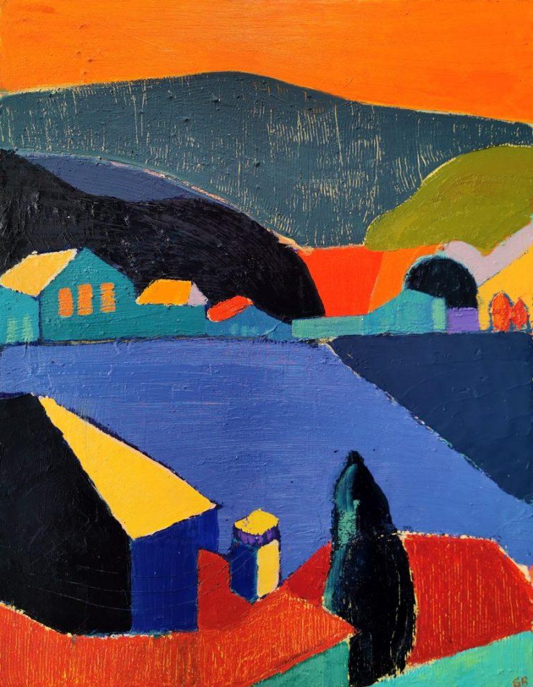 Хълмът, 2020, маслени бои върху платно, 90 х 70 см.