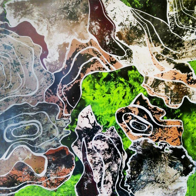 Токсичен релеф 1, 2021, байц за дърво, туш, спрей, разредител за алкидна боя върху хартия, 70 х 70 см.