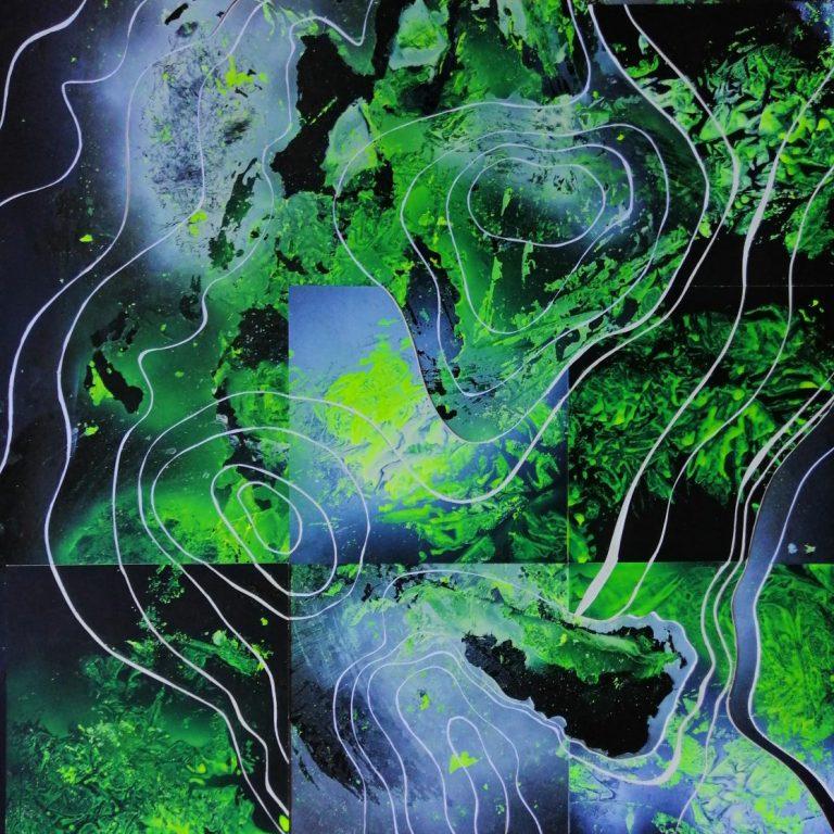 Токсичен релеф 3, 2021, спрей, безцветен лак за дърво, 70 х 70 см.