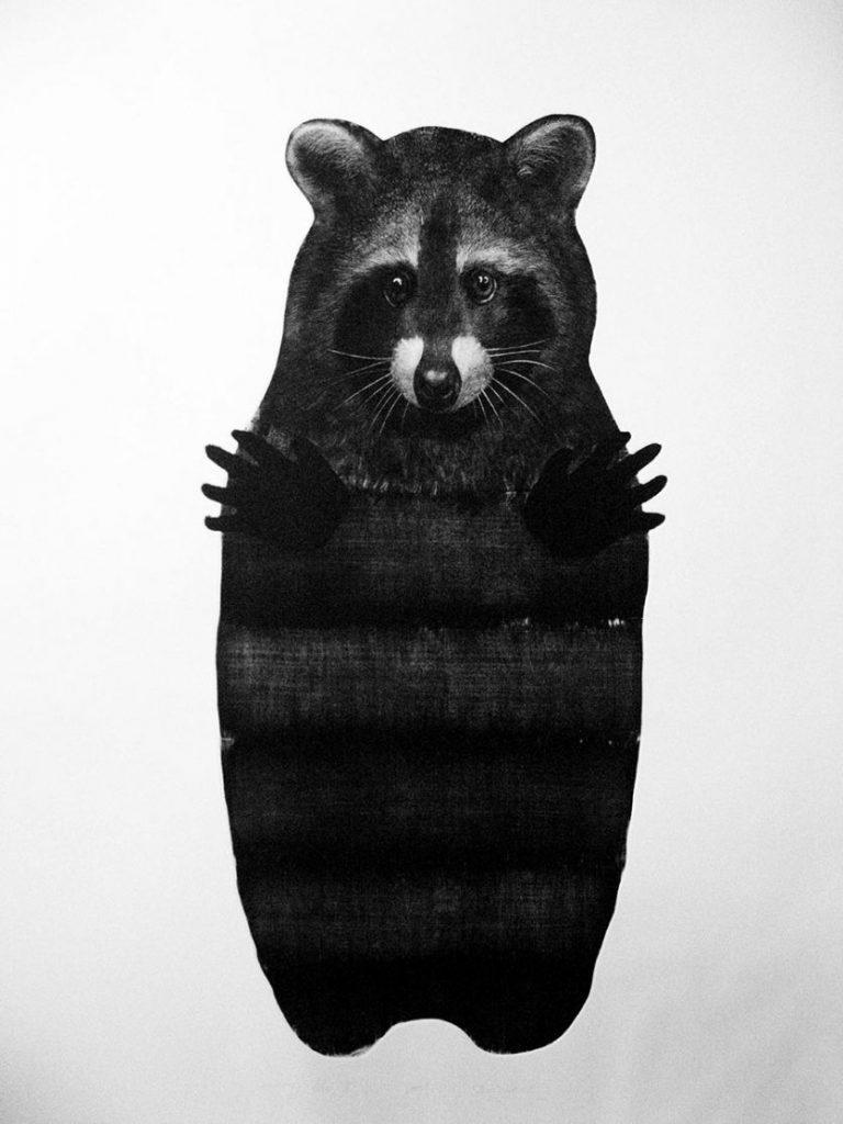 """Hug me 3"", 2015, mezzotint, 100×70"