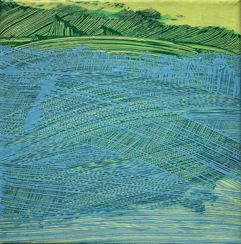 Green Blue Fields, 2020, acrylic on canvas, 20 х 20 cm.
