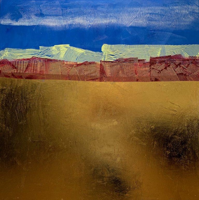 Scene – Coast, 2020, acrylic and foil on canvas, 100 х 100 cm.