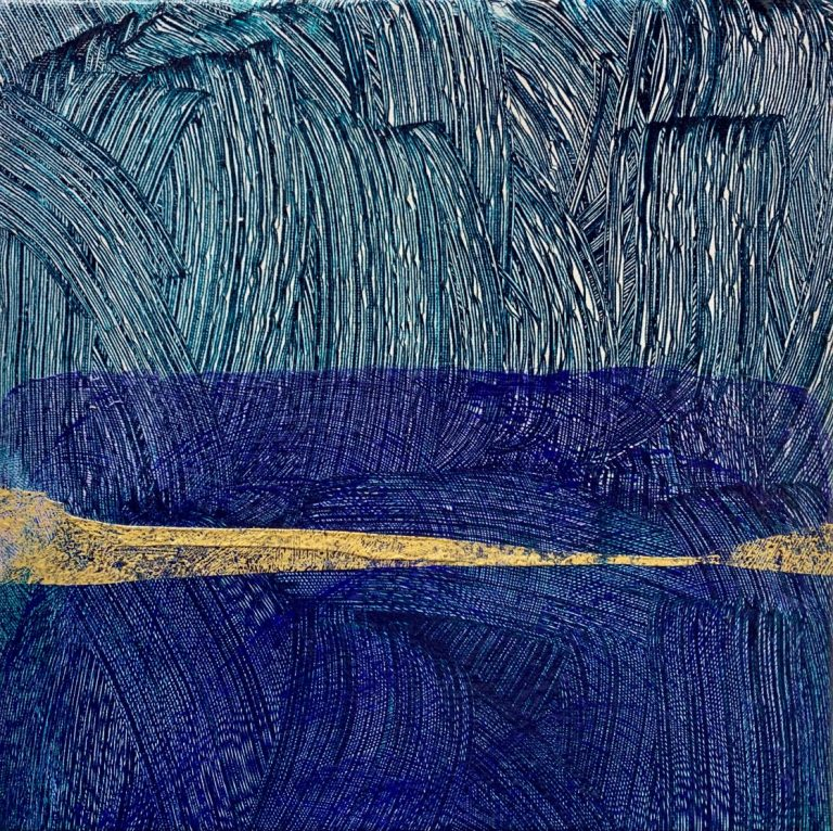 Green-Blue Landscape, 2020, Acrylic on canvas, 30 х 30 cm.