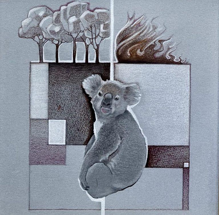 Thin Border, 2020, Color pencil/Cardboard, 20 x 20 см, framed