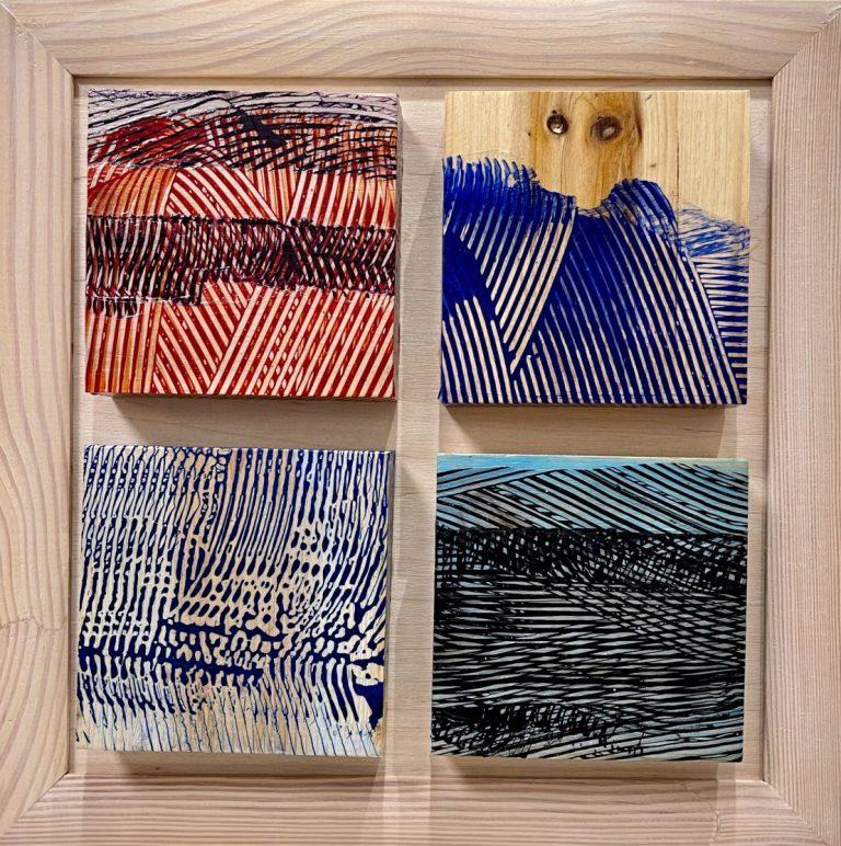 Deconstructed landscape 1, 2020, Acrylic on wood, 25 х 25 cm, framed