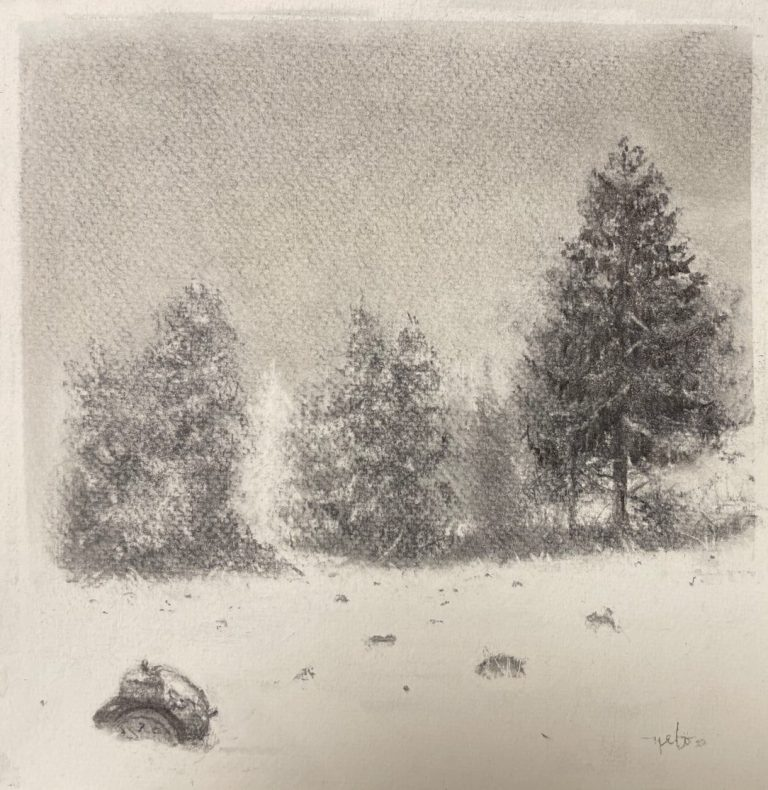 Time Freeze 2, 2020, Charcoal on paper, 20 x 20 cm, framed
