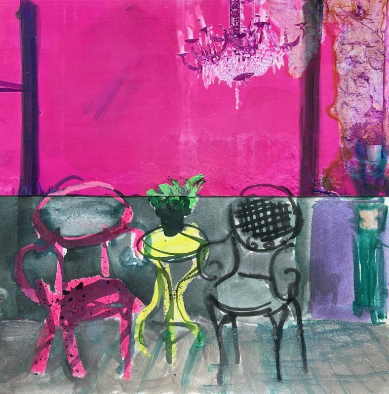 Кафе в Атина, 2020, колаж – акварел, маслен пастел, фотография, 20 x 20 см, без рамка