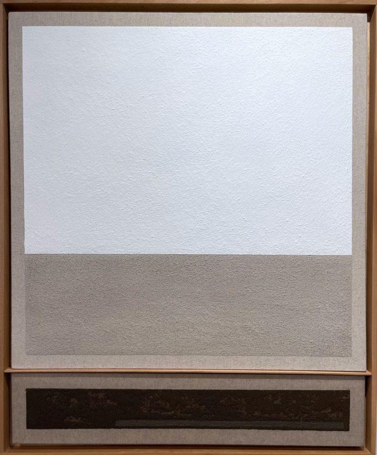 Усещане за Лещен, 2021, смесена техника – варова полупостна боя, полупостен грунд, пресята почва смесена с ленено масло върху платно, 85 х 70 см.