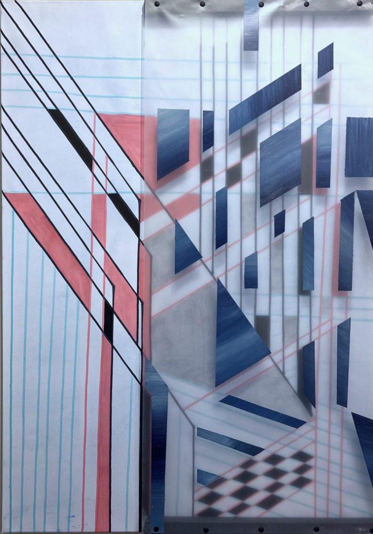 Оранжерия 2, 2021, смесена техника с елементи от индустриална, рециклирана плака и хартия, 100 х 70 см.