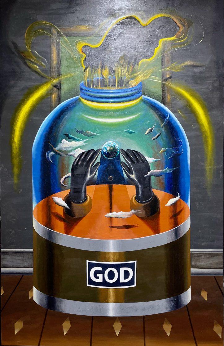 God, 2015, oil and acrylic on canvas, 133 x 86 cm.