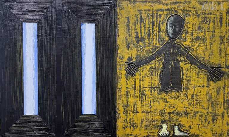 Untitled, 2012, mixed media on canvas, diptych, 55 x 92 cm.