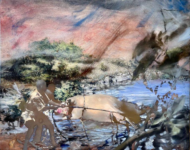 Private Island, 2018, oil and epoxy on canvas, 40 x 50 cm.