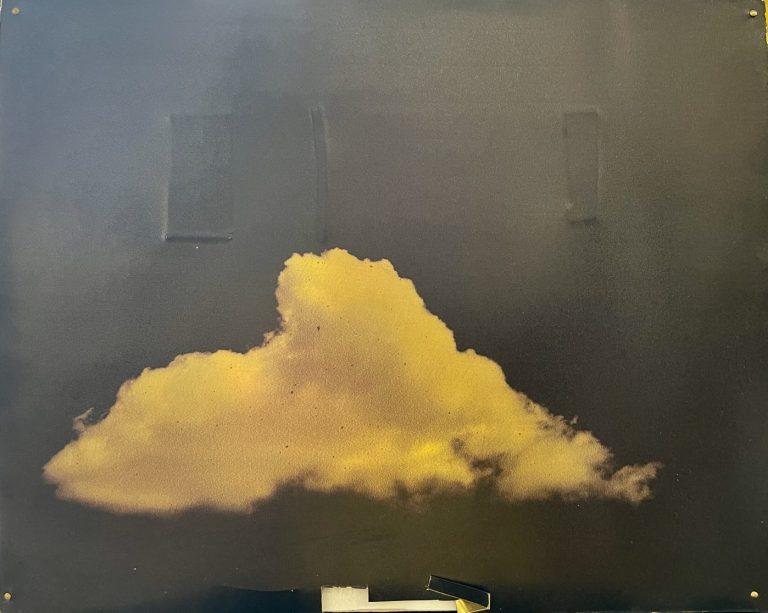 Golden Cloud, 2018, print on brass, prege, intervention, 20 x 25 x 5 cm.