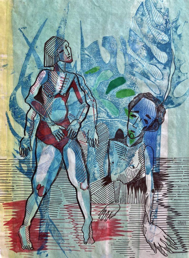 Разходка в джунглата, 2020, смесена техника – монотипия, маслени бои, мастило, хартия, 40 х 30 см, рамкирана