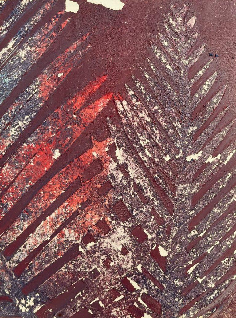 Палма 3, 2021, смесена техника – монотипия, маслени бои, хартия, 20 х 15 см, рамкирана