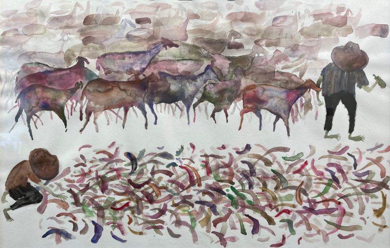 Cuernos por Chivas (Horns for Goats), 2011, watercolour on paper, 43 х 66 cm.