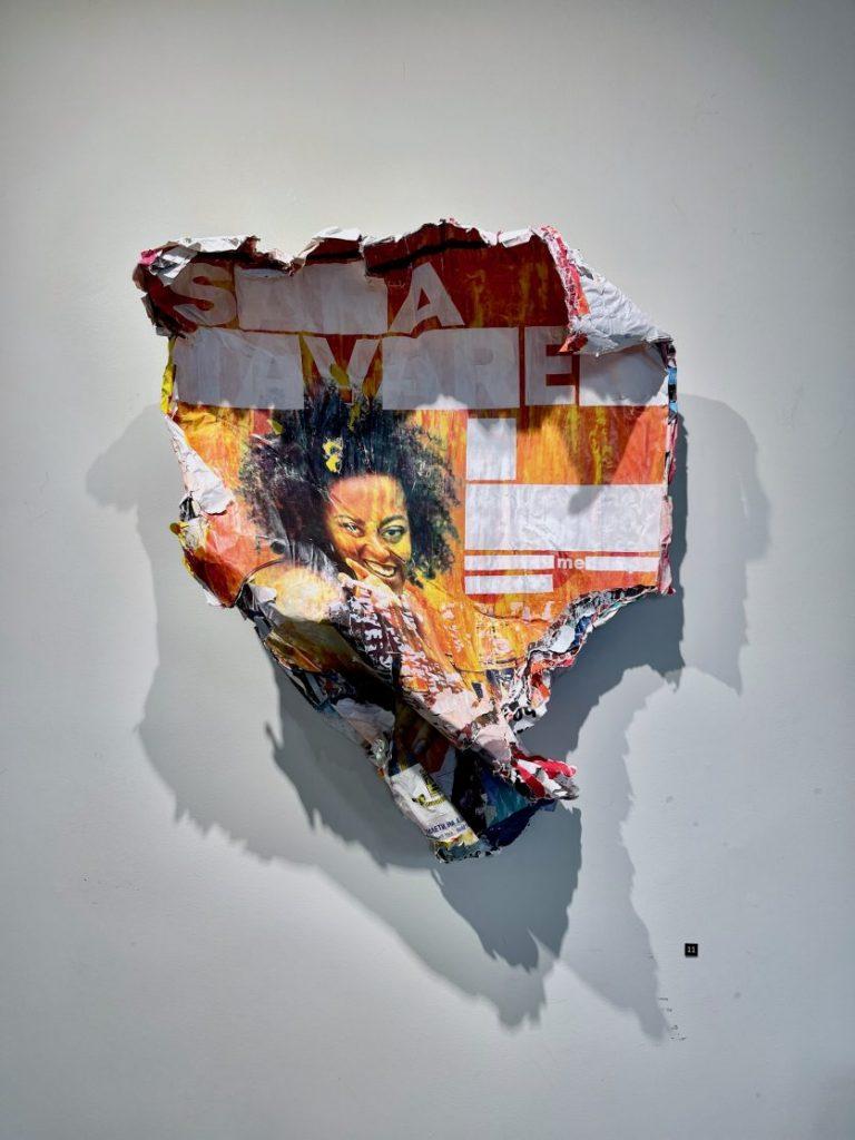 Sara, 2021, Installation, Found posters, acrylic paint, 76 х 67 x 21 cm.