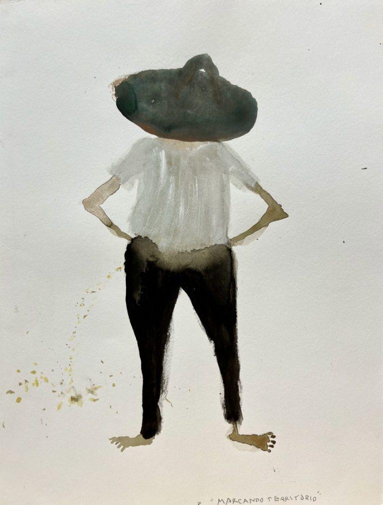 Territorial Pissing, 2013, watercolour / paper, 31.5 х 24.5 cm