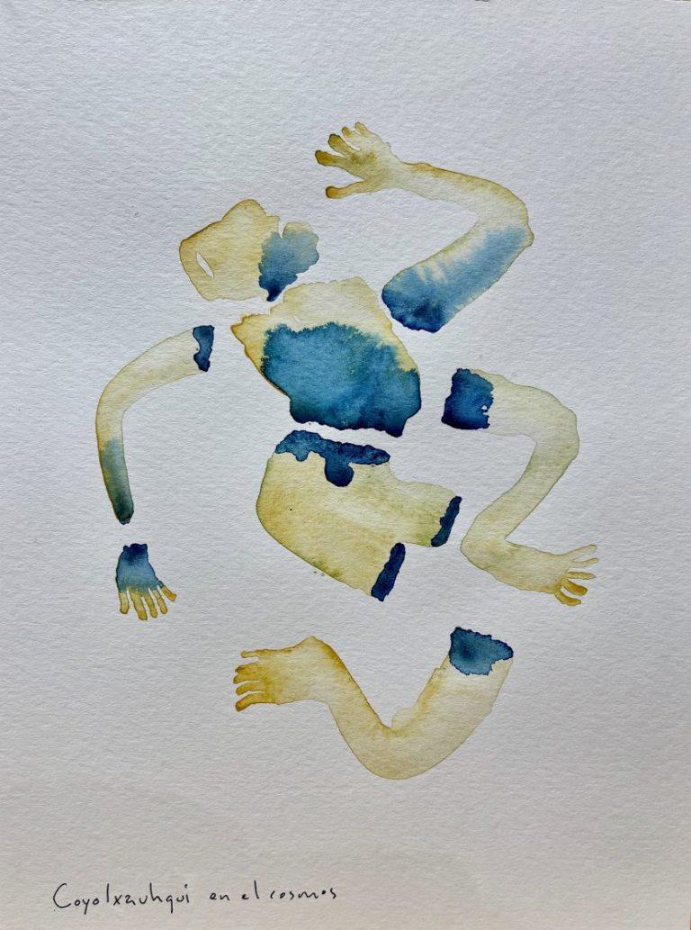 Coyolxauhqui en el cielo, 2021, watercolour / paper, 30.5 х 23 cm