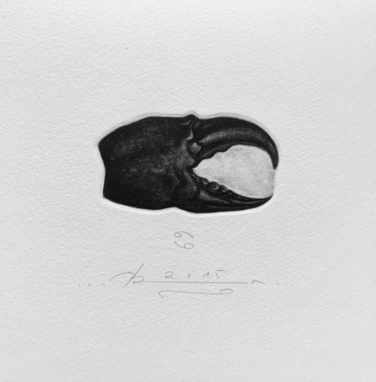 Зодиак 6 – Рак, 2015, mezzotint, 15 x 15 см.