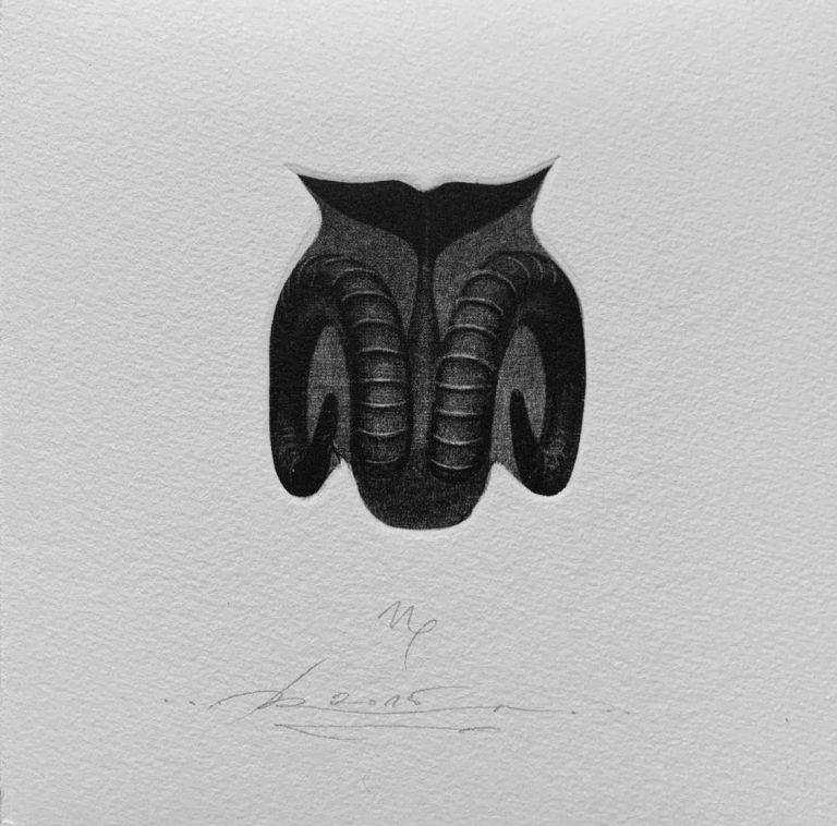 Зодиак 12 – Козирог, 2015, mezzotint, 15 x 15 см.