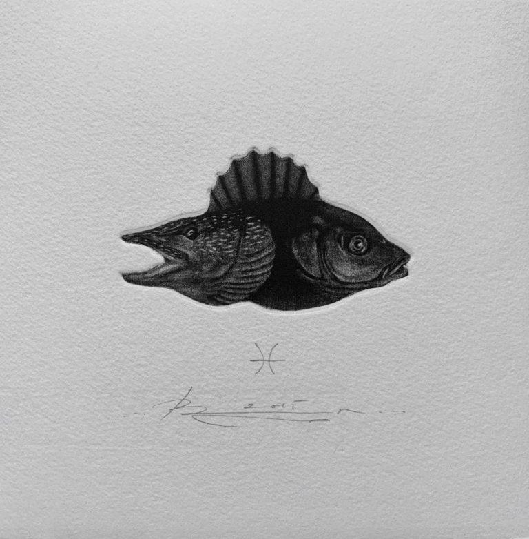 Зодиак 2 – Риби, 2015, mezzotint, 15 x 15 см.