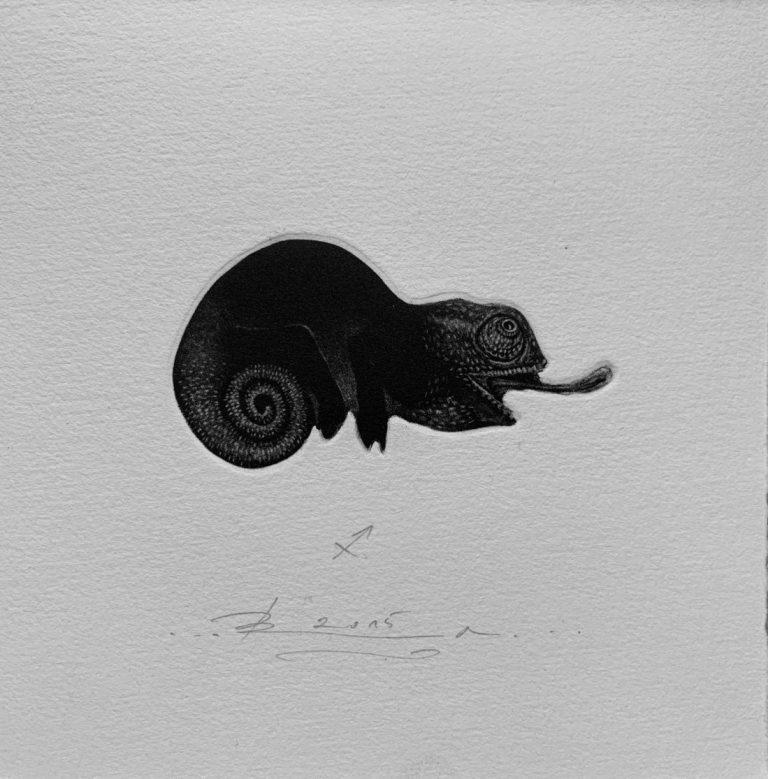 Зодиак 11 – Стрелец, 2015, mezzotint, 15 x 15 см.